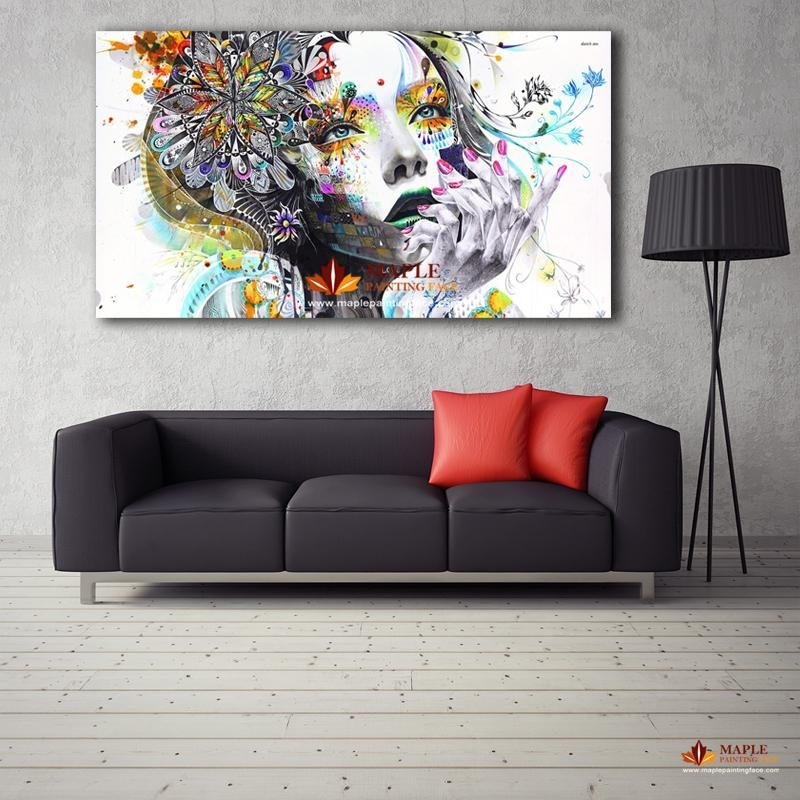 2018 Large Canvas Painting Modern Wall Art Girl With Flowers Oil Throughout Large Canvas Wall Art (Image 2 of 15)