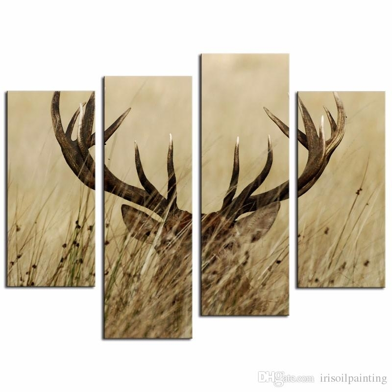 2018 Lk471 4 Panel Wall Art Deer Stag With Long Antler In The With Regard To Deer Canvas Wall Art (Image 3 of 15)