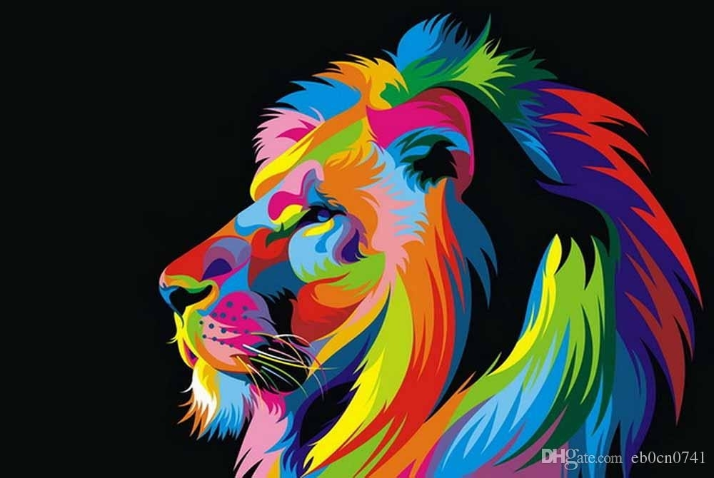 2018 !oil Paintings Canvas Abstract Lion Colorful Animals Wall Art In Abstract Lion Wall Art (Image 2 of 15)