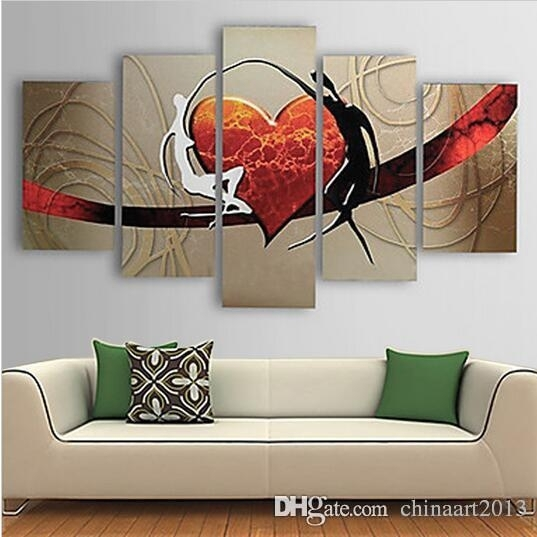 2018 Pure Hand Painted Abstract Heart Oil Painting On Canvas With Abstract Heart Wall Art (View 11 of 15)