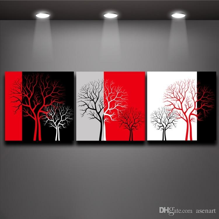 2018 Red Black White Three Colors Tree Picture Oil Painting Prints Throughout Red Canvas Wall Art (Image 1 of 15)