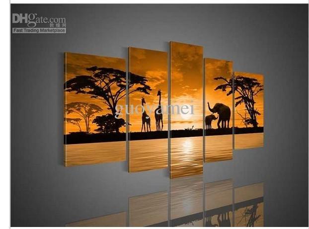 2018 Wall Art Sunset Woods The Giraffe Elephant Landscape Oil With Giraffe Canvas Wall Art (View 12 of 15)