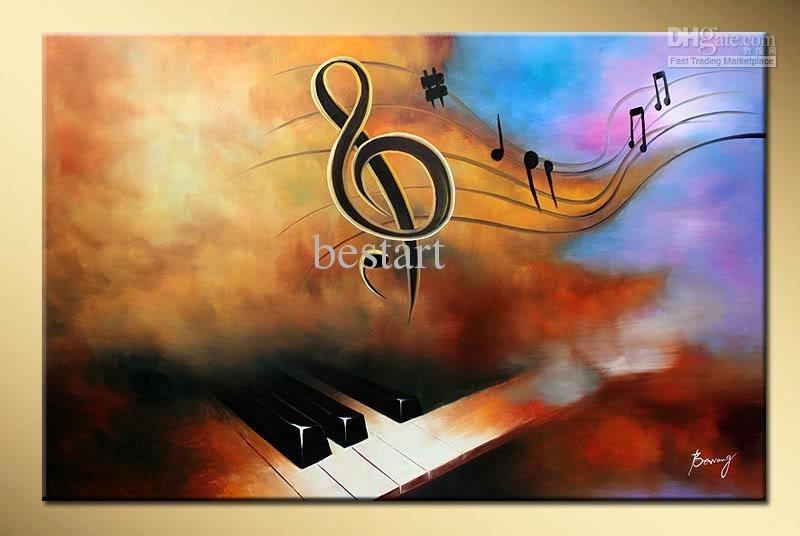 2018 Wholesale Hand Painted Decorative Wall Art Music Piano With Abstract Music Wall Art (Image 1 of 15)