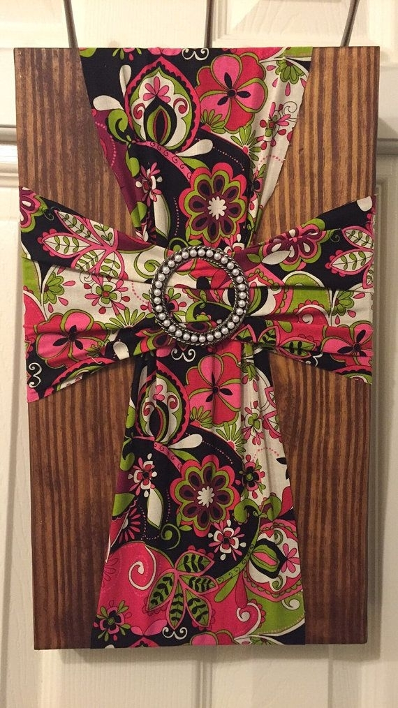 204 Best Crosses Painted, Fabric, Bedazzled Images On Pinterest In Fabric Cross Wall Art (View 11 of 15)