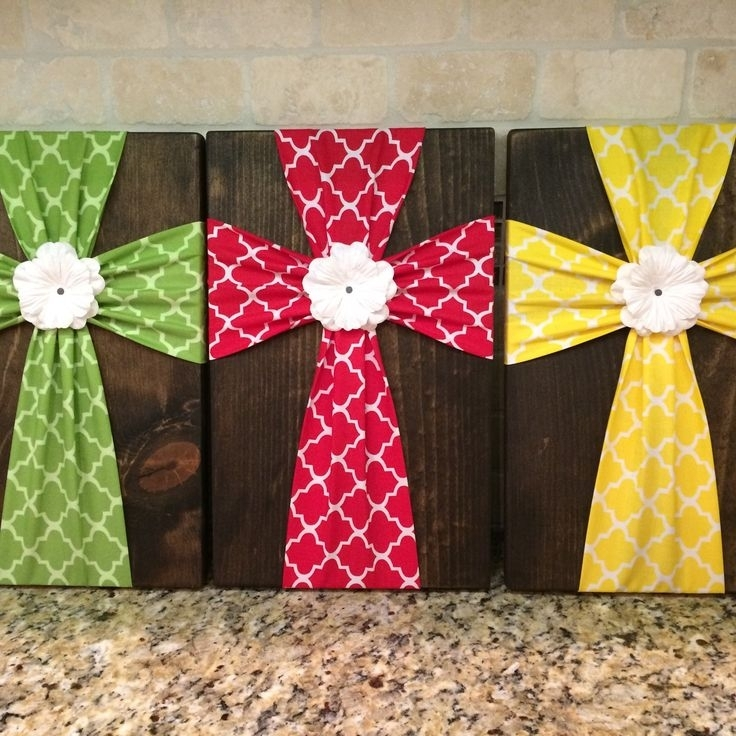 204 Best Crosses  Painted, Fabric, Bedazzled Images On Pinterest Regarding Diy Fabric Cross Wall Art (Image 1 of 15)
