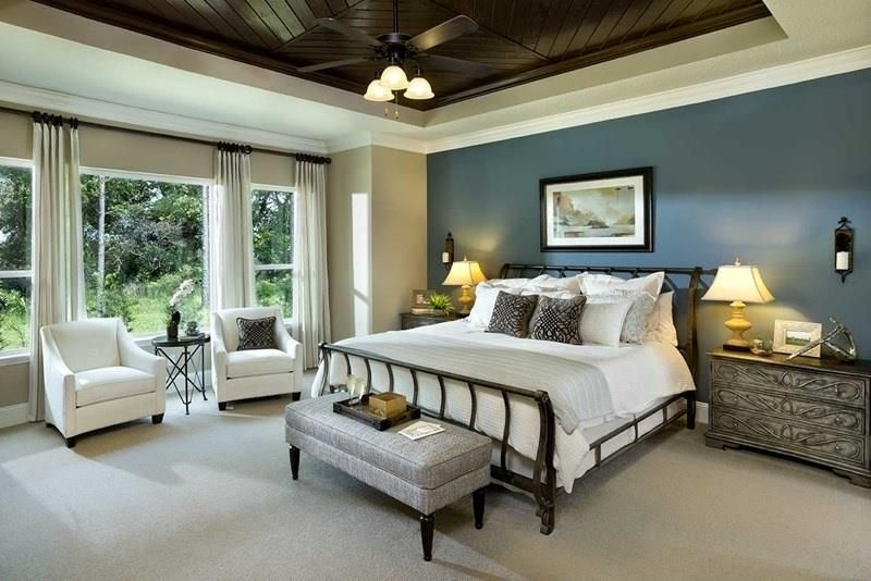 25 Beautiful Bedrooms With Accent Walls | Blue Accent Walls Inside Wall Accents For Tan Room (Image 4 of 15)