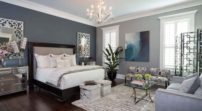 25 Beautiful Bedrooms With Accent Walls | Chandeliers, Bedrooms With Light Blue Wall Accents (View 11 of 15)
