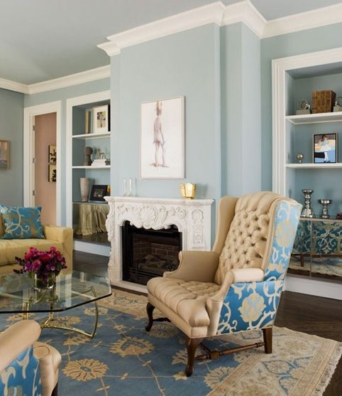 25 Best Painted Ceilings Images On Pinterest | Trey Ceiling Within Light Blue Wall Accents (Image 2 of 15)
