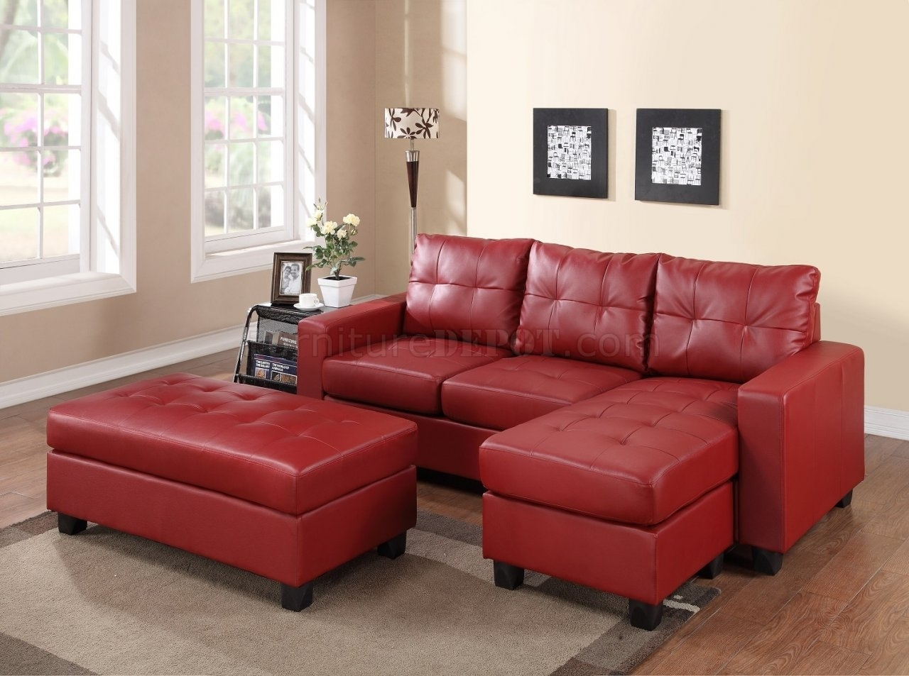 2511 Sectional Sofa Set In Red Bonded Leather Match Pu Throughout Red Leather Sectional Sofas With Ottoman (View 7 of 10)