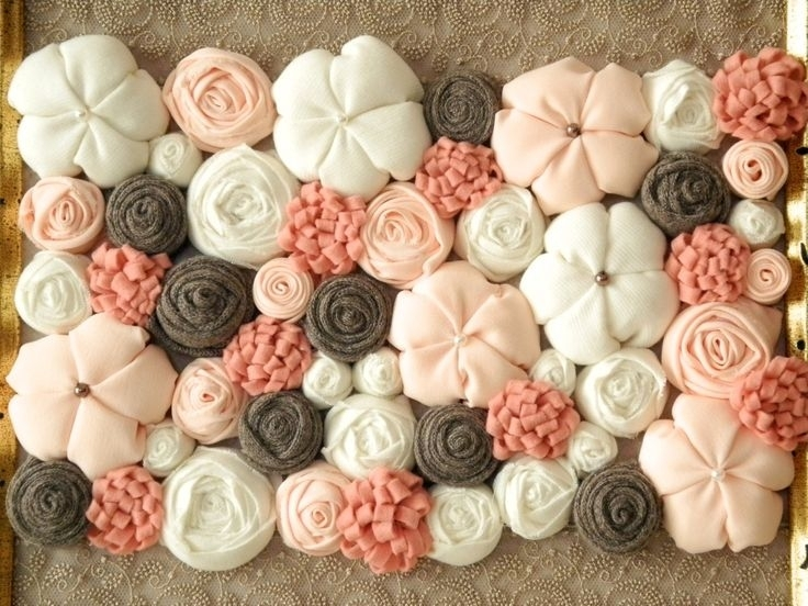294 Best Fabric Flowers Artmapano Handmade Images On Pinterest Regarding Fabric Flower Wall Art (Image 2 of 15)