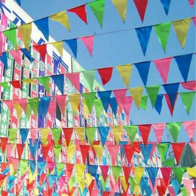 2Pcs/lot Fabric Hanging Flags / Banner/birthday Party Festival In Outdoor Fabric Wall Art (Image 2 of 15)