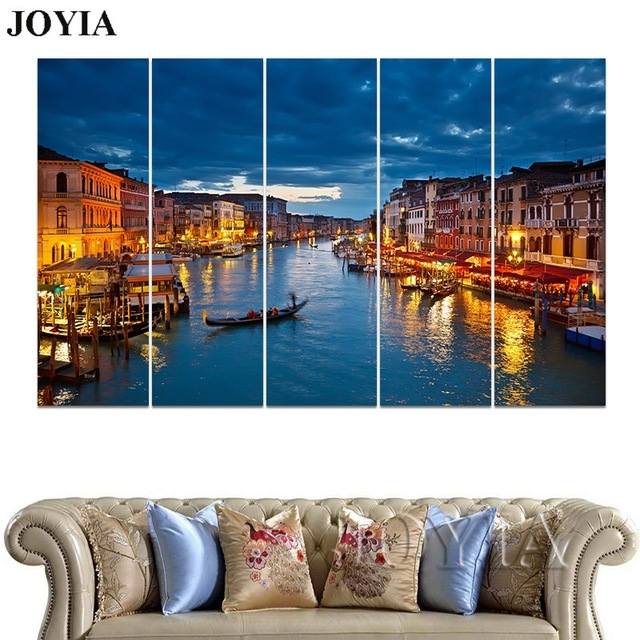 3 4 5 Piece Wall Art Grand Canal Blue Night Venice Photo Wall Inside Canvas Wall Art Of Italy (Photo 11 of 15)