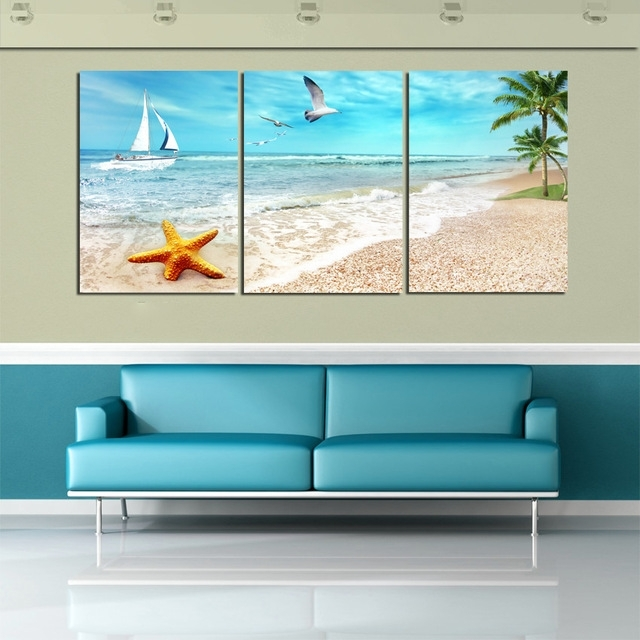3 Panel Beach Canvas Seascapes Palm Tree Paintings Wall Art Within Beach Canvas Wall Art (Photo 6 of 15)