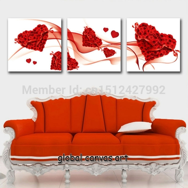3 Panel Framed Modern Home Decoration Wall Art Picture Rose Red In Hearts Canvas Wall Art (Image 2 of 15)