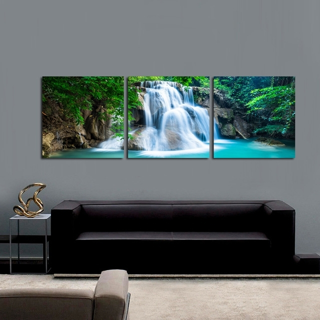 3 Panel Green Forest Waterfall Canvas Wall Art Print Painting Pertaining To Nature Canvas Wall Art (Image 2 of 15)