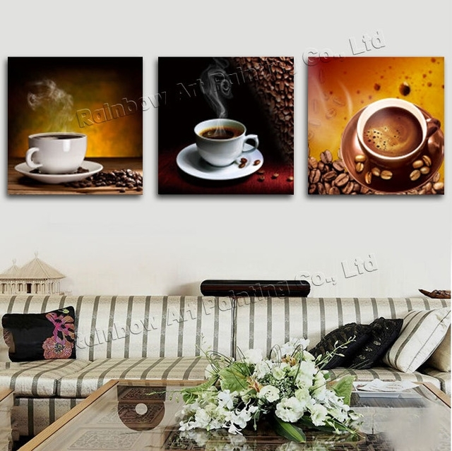 3 Panel Modern Printed Coffee Canvas Art Painting Picture Cuadros Within Coffee Canvas Wall Art (Image 3 of 15)