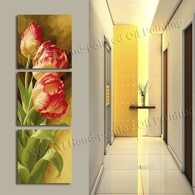 3 Panel Modern Printed Tulip Flower Painting Picture Cuadros Within Canvas Wall Art Of Flowers (Image 2 of 15)