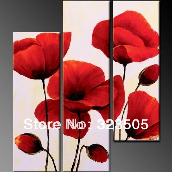 3 Panel Red Poppy Floral Canvas Wall Art Abstract Modern Acrylic In Poppies Canvas Wall Art (Photo 14 of 15)