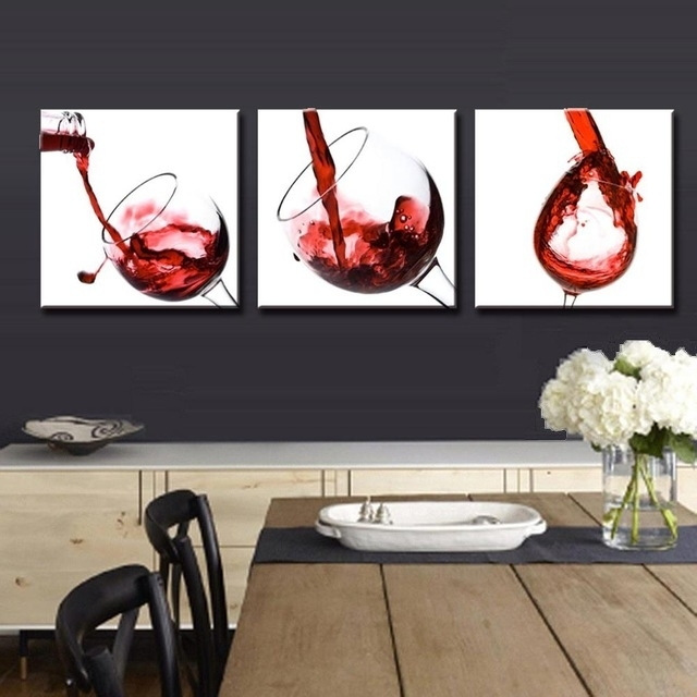 3 Panel Red Wine Glass Painting Canvas Wall Art Picture Home With Red Canvas Wall Art (Image 2 of 15)