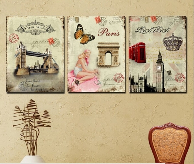 3 Panel Wall Art Picture Europe Retro Decorative Paintings Famous With Regard To Retro Canvas Wall Art (View 13 of 15)