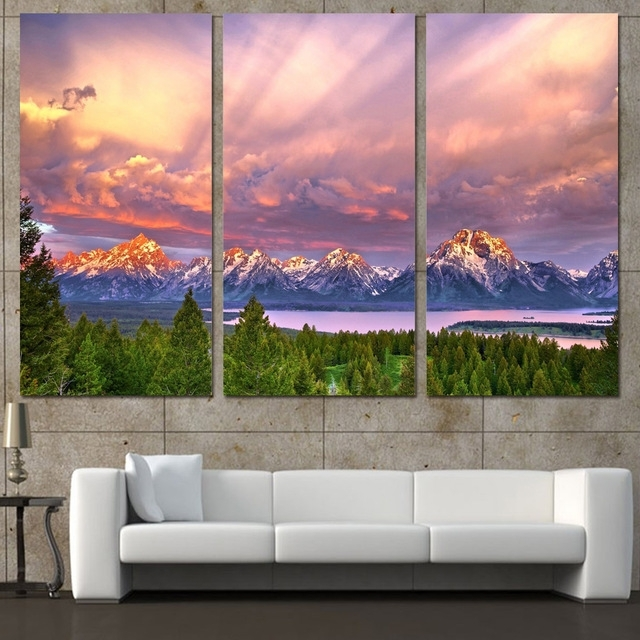3 Panels Canvas Art Snow Mountains Cloudy Sky Home Decor Wall Art Intended For Mountains Canvas Wall Art (View 3 of 15)