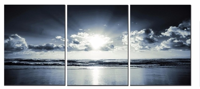 3 Panels The Black White Sea Canvas Prints Wall Art Landscape Within Landscape Canvas Wall Art (Image 3 of 15)
