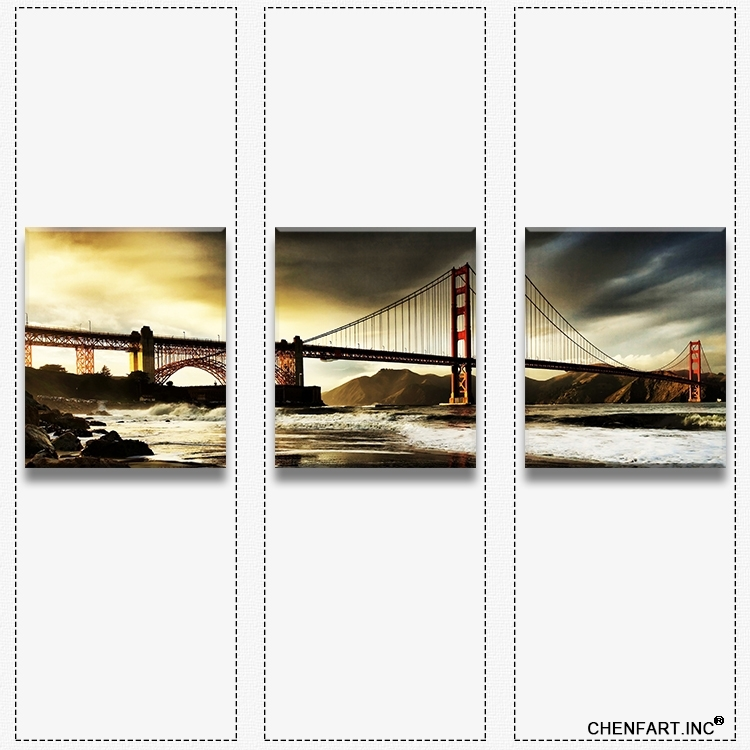 3 Panels Wall Art Set Print On Canvas Wall Painting Golden Gate Regarding Golden Gate Bridge Canvas Wall Art (Image 2 of 15)