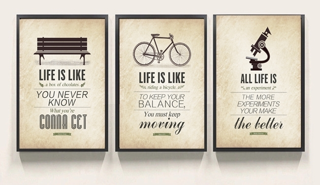 3 Pcs Modern Minimalist Bedroom Wall Art Black White Motivational Throughout Canvas Wall Art Quotes (Image 1 of 15)