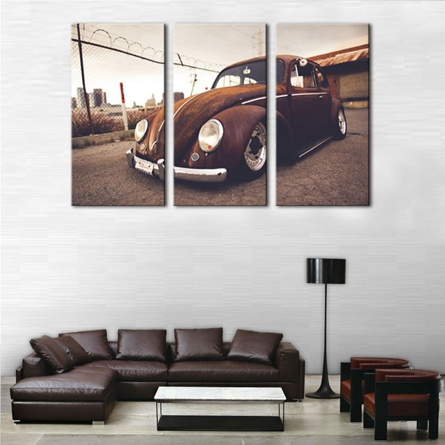 3 Picture Combination Wall Art Beetle Volkswagen Vintage Classical With Regard To Retro Canvas Wall Art (View 2 of 15)