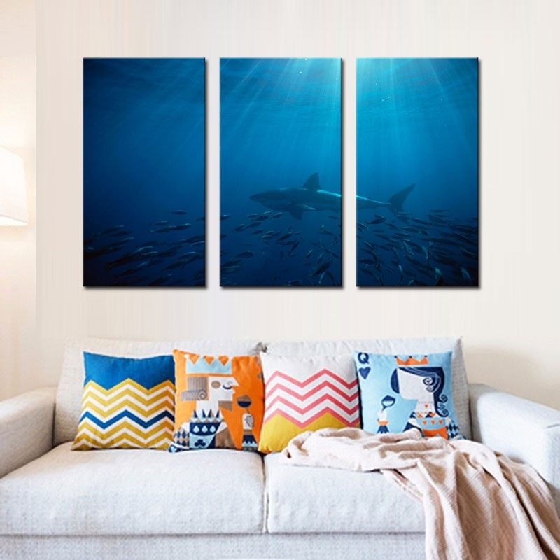 3 Picture Combination Wall Art Painting Great White Shark In Inside Canvas Wall Art In Australia (View 8 of 15)