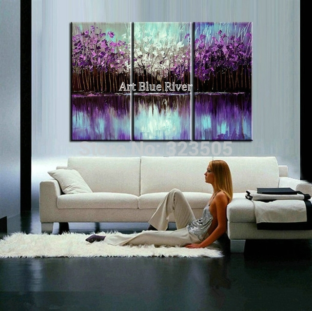 3 Piece Abstract Canvas Art Painting Triptych Home Goods Wall Art Within Abstract Living Room Wall Art (Image 1 of 15)