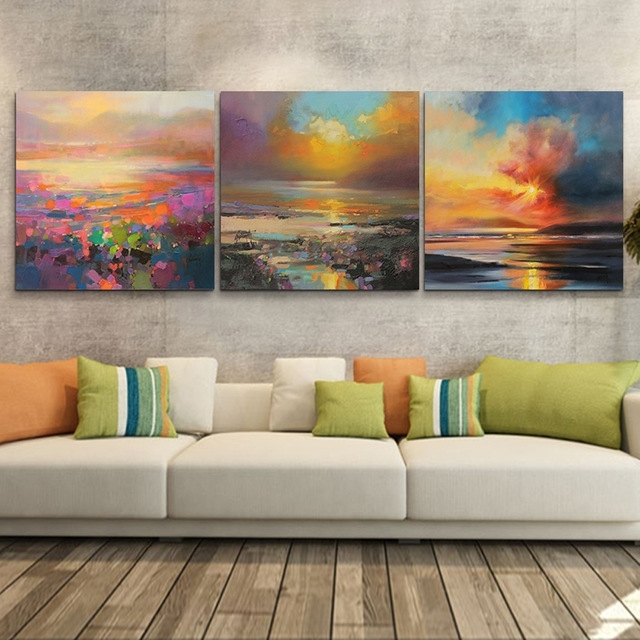 3 Piece Abstract Wall Art Canvas Sunset Beach Prints Modern Wall With Abstract Nature Canvas Wall Art (Photo 13 of 15)