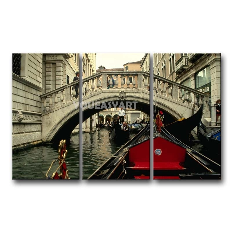 3 Piece Black White And Red Painting On Canvas Wall Art Italy Intended For Canvas Wall Art Of Italy (Photo 3 of 15)