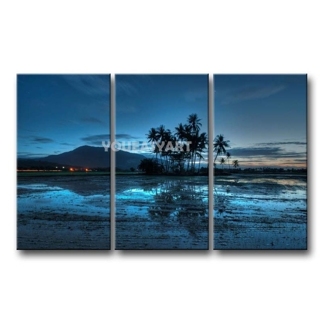 3 Piece Blue Painting On Canvas Wall Art Malaysia Palms Sunset For Malaysia Canvas Wall Art (Photo 11 of 15)