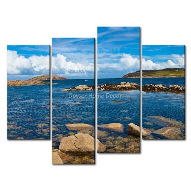 3 Piece Blue Wall Art Painting Cruit Island Ireland Clear Water With Regard To Ireland Canvas Wall Art (View 3 of 15)