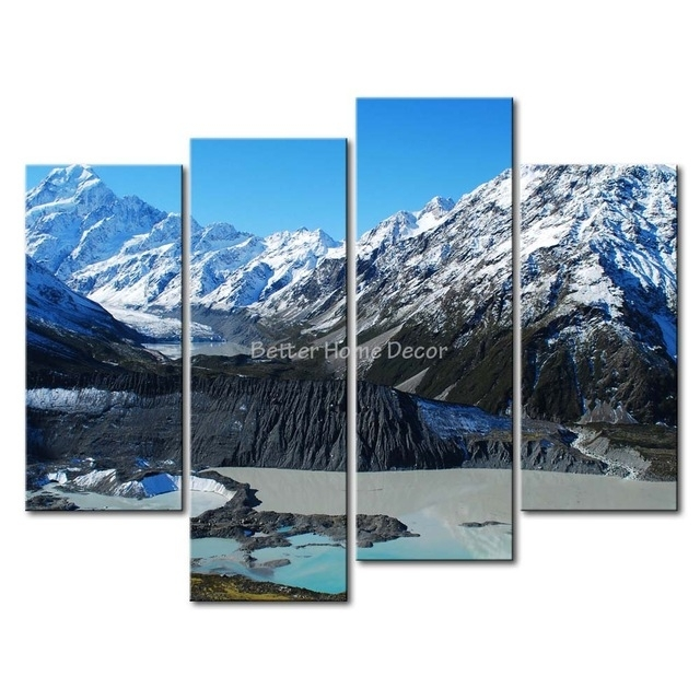 3 Piece Blue Wall Art Painting Mount Cook New Zealand Snow with New Zealand Canvas Wall Art