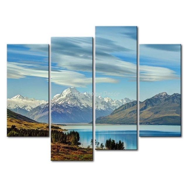 3 Piece Blue Wall Art Painting South Island New Zealand Snow inside New Zealand Canvas Wall Art