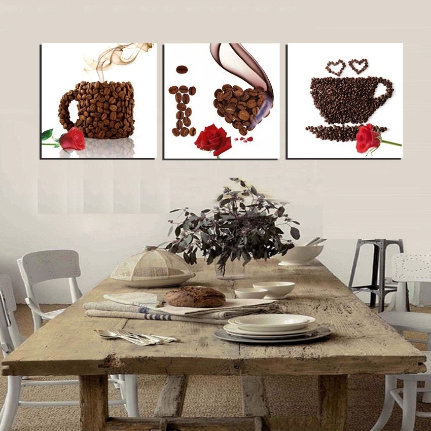 3 Piece Canvas Print Wall Art Coffee Painting Beans Mugs I Love In Framed Coffee Art Prints (Image 2 of 15)