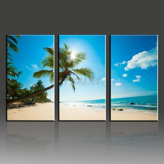 3 Piece Canvas Wall Art Abstract Sets,beach Waves Pictures,beach Throughout Beach Canvas Wall Art (Photo 3 of 15)