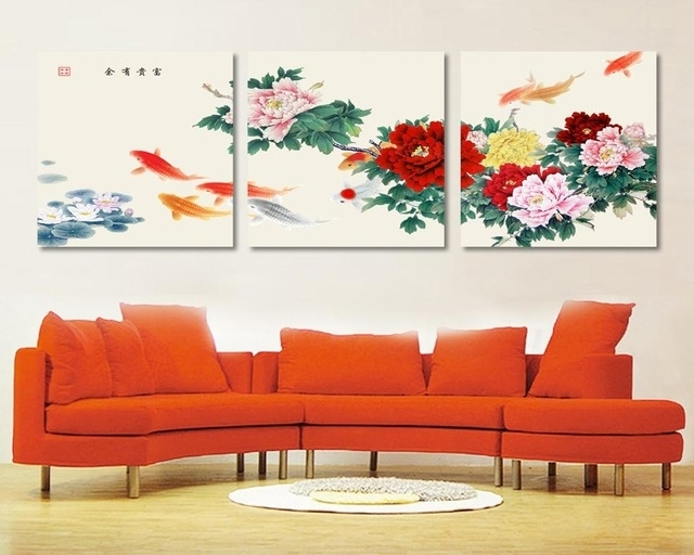 3 Piece Canvas Wall Art Koi Fish Wall Art Paintings For Living Within Koi Canvas Wall Art (Image 3 of 15)
