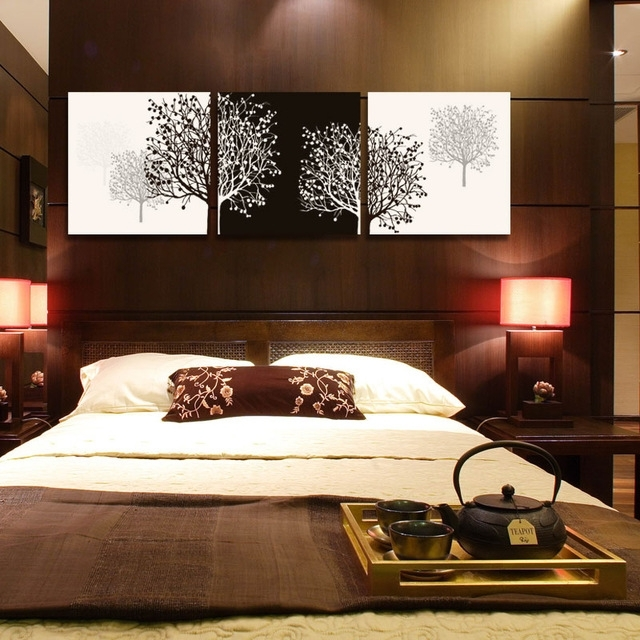 3 Piece Canvas Wall Art Tree Black Canvas Prints Abstract Large Throughout Bedroom Canvas Wall Art (Image 3 of 32)