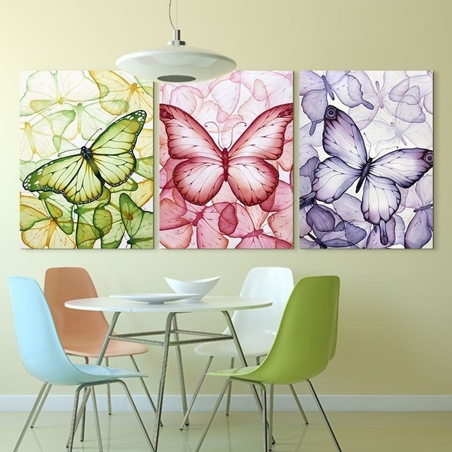 3 Piece Colorful Butterfly Wall Painting Art Hd Printed Picture Throughout Butterflies Canvas Wall Art (Image 2 of 15)