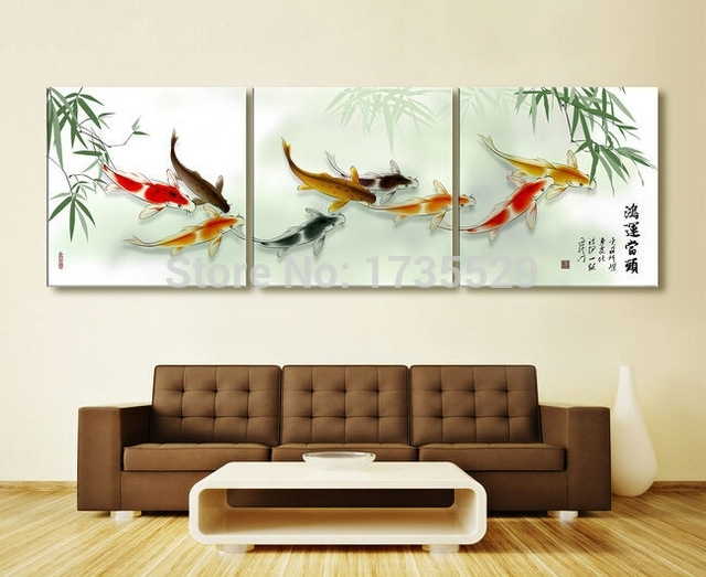 3 Piece Koi Fish Wall Art Chinese Painting Wall Art On Canvas Home In Koi Canvas Wall Art (Image 4 of 15)