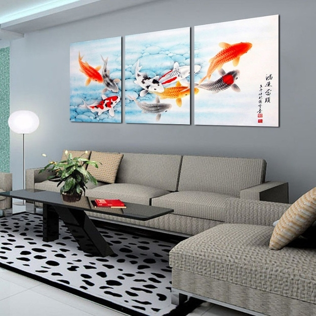 3 Piece Koi Fish Wall Art Chinese Painting Wall Art On Canvas Home Regarding Koi Canvas Wall Art (Image 5 of 15)