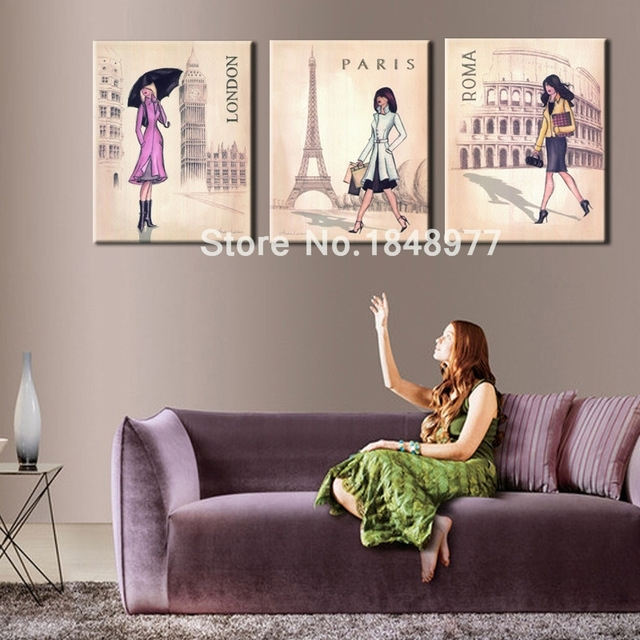 3 Piece Lager Wall Art Canvas Modern Women Paris London Rome Pertaining To Canvas Wall Art Of Rome (Image 2 of 15)