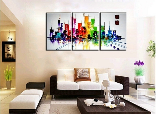 3 Piece Modern Canvas Wall Art Triptych Muti Abstract City Throughout Modern Canvas Wall Art (View 8 of 15)