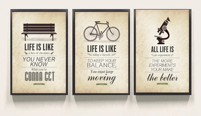 3 Piece Modern Minimalist Bedroom Wall Art Black White Inside Large Canvas Wall Art Quotes (View 13 of 15)