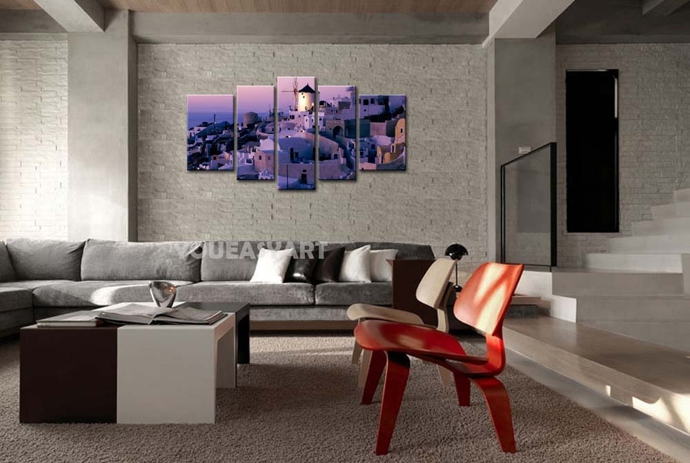 3 Piece Purple Painting On Canvas Wall Art Greece Santorini Mill Intended For Greece Canvas Wall Art (View 13 of 15)