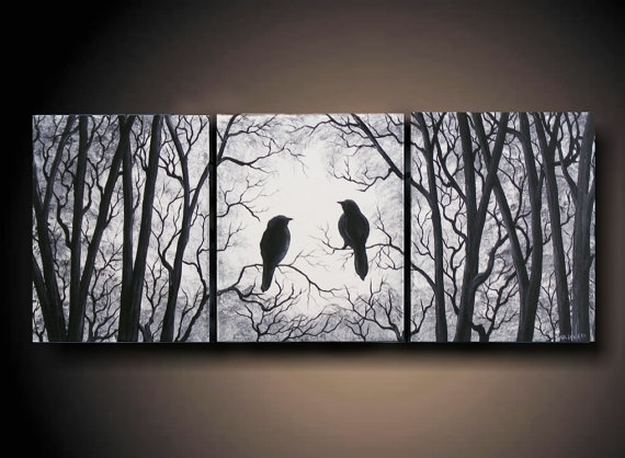 "3 Piece Set Wall Art, Birds On Tree, Three 8"" X 10"" Piece Canvas Intended For Birds Canvas Wall Art (Photo 14 of 15)"