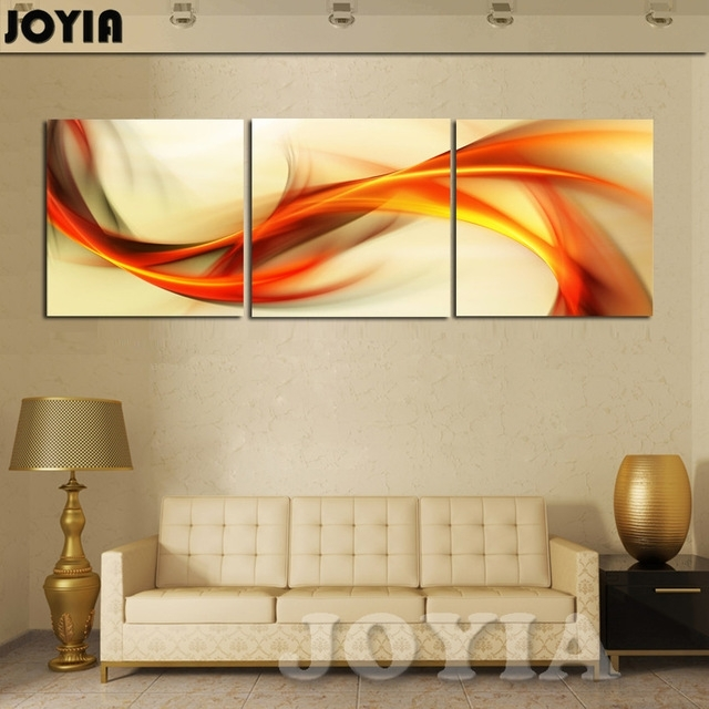 3 Piece Wall Art Abstract Painting Home Decoration Modern Picture Regarding Orange Canvas Wall Art (View 4 of 15)
